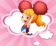 A cheerleader inside a cloud. Illustration of a cheerleader inside a cloud Stock Photography