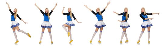 The cheerleader isolated on the white background Stock Images