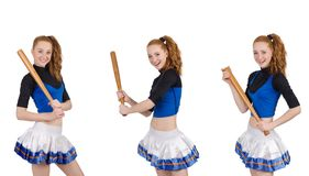 The cheerleader isolated on the white background Royalty Free Stock Images