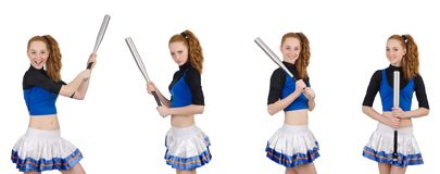 The cheerleader isolated on the white background Royalty Free Stock Photography