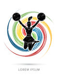 Cheerleader jumping graphic Royalty Free Stock Images