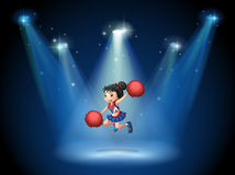 A cheerleader jumping in the middle of the stage. Illustration of a cheerleader jumping in the middle of the stage Royalty Free Stock Photography