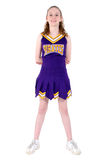 Cheerleader met de Officieuze Naam van het Team en Eenvormige Kleuren Stock Fotografie