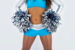 Cheerleader met pom-poms. Stock Fotografie