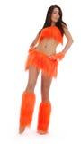 Cheerleader in orange costume Stock Photos