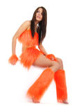 Cheerleader in orange costume Stock Images