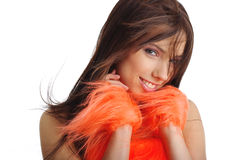 Cheerleader in orange costume Royalty Free Stock Photos