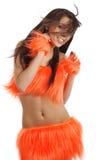 Cheerleader in orange costume Royalty Free Stock Photography