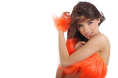 Cheerleader in orange costume Royalty Free Stock Photo
