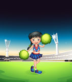 A cheerleader performing in the football court. Illustration of a cheerleader performing in the football court Stock Images