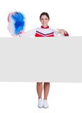 Cheerleader Pointing On Blank Placard Stock Images