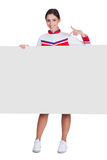 Cheerleader Pointing On Blank Placard Stock Photography