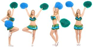 Cheerleader with pom-poms Royalty Free Stock Images