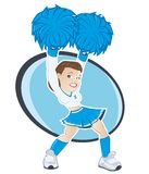 Cheerleader with pompoms. Illustrated cheerleader with blue pompoms Stock Photography