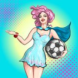 Cheerleader pop art comic style. Beautiful girl from the support group holding ball and inviting gesture welcoming to. Cheerleader pop art. Beautiful girl from Stock Photos