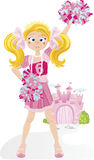 Cheerleader Princess. Girl standing in front of her castle Stock Photography