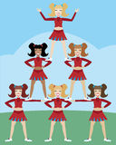 Cheerleader Pyramid. Girl cheer squat makes a pyramid Vector Illustration