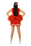 Cheerleader: Rear View of Anonymous Cheerleader. Cute female as an American sports cheerleader, in red and white outfit.  Isolated on white background Royalty Free Stock Photos