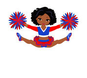 Cheerleader in red blue uniform with Pom Poms. Vector illustration isolated on white background Stock Photos