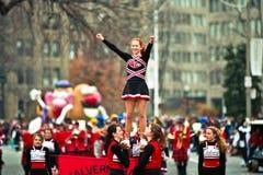 Cheerleader at Santa Claus Parade Royalty Free Stock Photos