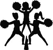 Cheerleader silhouettes. Silhouettes of cheerleaders in popular position Royalty Free Stock Image