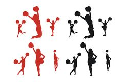 Cheerleader Silhouettes Royalty Free Stock Photos
