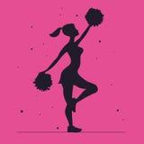 cheerleader Siluetta di vettore su un fondo rosa cheerleader royalty illustrazione gratis