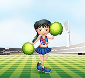 A cheerleader in the soccer field. Illustration of a cheerleader in the soccer field Royalty Free Stock Photos