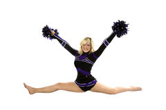 Cheerleader splits poms up Stock Images