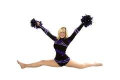 Cheerleader Splits Poms Up Stock Images