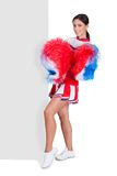 Cheerleader Standing Near Blank Placard Stock Images