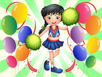 A cheerleader surrounded with balloons Royalty Free Stock Image