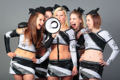 Cheerleader Team With Megaphone Royalty-vrije Stock Afbeelding