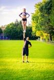 Cheerleader Team Practicing Royalty Free Stock Images