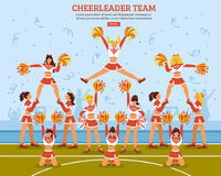 Cheerleader Team Stadium Flat Poster Royalty Free Stock Image
