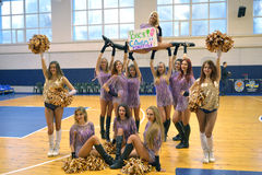 Cheerleader on the top with banner Royalty Free Stock Photos