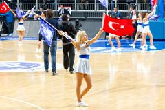 Cheerleader with Turkish Flag Stock Images