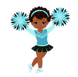 Cheerleader in turquoise uniform with Pom Poms. Royalty Free Stock Photography