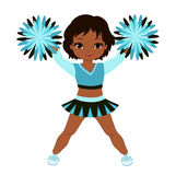 Cheerleader in turquoise uniform with Pom Poms. Royalty Free Stock Images