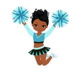 Cheerleader in turquoise uniform with Pom Poms. Stock Photo