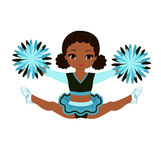 Cheerleader in turquoise uniform with Pom Poms. Stock Photos