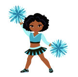 Cheerleader in turquoise uniform with Pom Poms. Royalty Free Stock Image