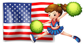 A cheerleader and the USA flag. Illustration of a cheerleader and the USA flag on a white background Royalty Free Stock Image