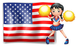A cheerleader from the USA. Illustration of a cheerleader from the USA on a white background Stock Image