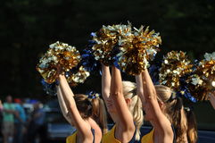 Cheerleader waving pompoms Stock Image