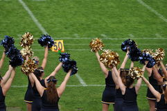 Cheerleader waving poppoms Royalty Free Stock Photo