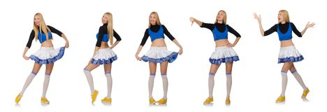 The cheerleader  on the white background Stock Image