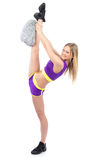Cheerleader woman dancer in modern twine pose Stock Photos