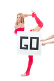 Cheerleader woman dancer show thumb up with text board Stock Photos