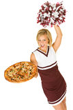 Cheerleader: Woman Holds Up Pizza And Cheers For Team Royalty Free Stock Photos